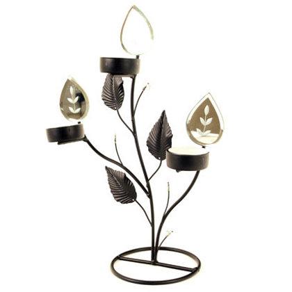 Porte bougies miroirs et métal