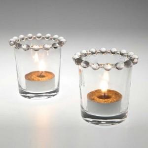 Photophore en verre à votive proposé par Amadeus à 9.90 euro.