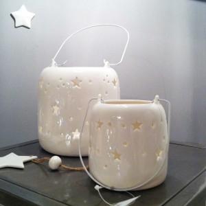 Photophore lanterne en céramique blanc ajouré étoiles proposé par Jardin d'Ulysse à 12.00 euro.